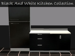 Sims 2 — Black And White Kitchen  by staceylynmay2 — Black and white kitchen. Two door fridge, two door counter and three