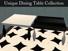 Sims 2 — Unique Dining Table Collection by staceylynmay2 — Two unique dining tables. Black with white legs as the mesh