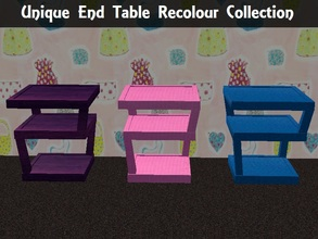 Sims 2 — Unique End Table Recolours Collection by staceylynmay2 — 3 unique end table recolours. Blue, pink and purple.