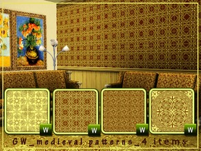 Sims 3 — GW medieval patterns 4 items by Gvendolin2 — These medieval patterns will give your home comfort and charm