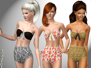 Sims 3 — Looking Back at Yesterday Swimsuit by zodapop — Vintage-inspired two piece swimsuit. The top has 3 recolorable