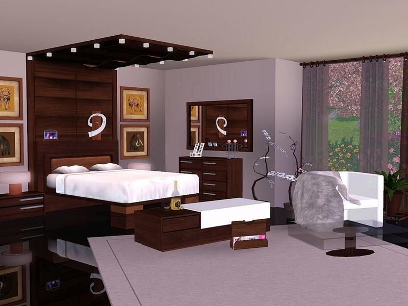 Flovv 39 s brown cherry bedroom for Bedroom designs sims 4