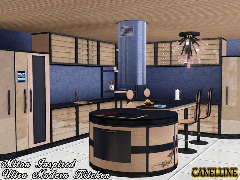 Canelline 39 s miton inspired ultra modern kitchen for Modern kitchen sims 3