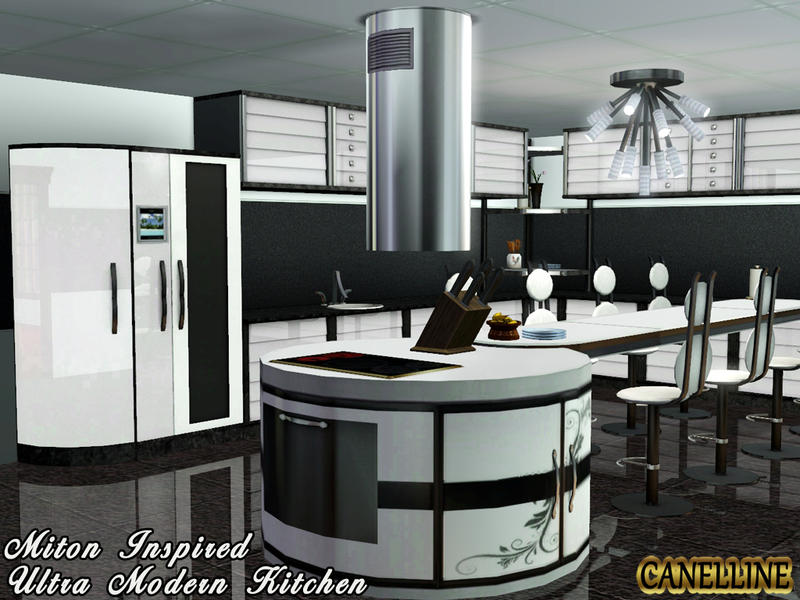 Canelline 39 s miton inspired ultra modern kitchen for Sims 3 kitchen designs