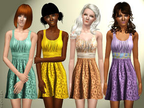 Sims 3 — A Taste of Summer Dress by zodapop — Sleeveless, knit, scoop neck dress with a ruched top and a floral cutout