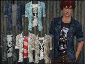 Sims 3 — MaleFashionSet5_Jeans-Jacket by Shojoangel — Hi...recolorable, 6 styles...have a nice day :D