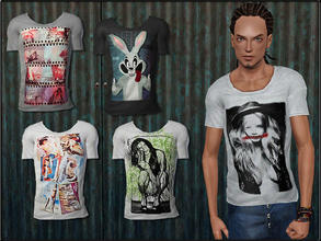 Sims 3 — MaleFashionSet5_T-Shirt by Shojoangel — Hi...recolorable, 5 styles...have a nice day :D