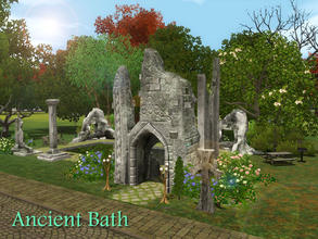 Sims 3 — Ancient Bath by Demented_Designs — This enchanting public pool located in Dragon Valley, encourages you to step