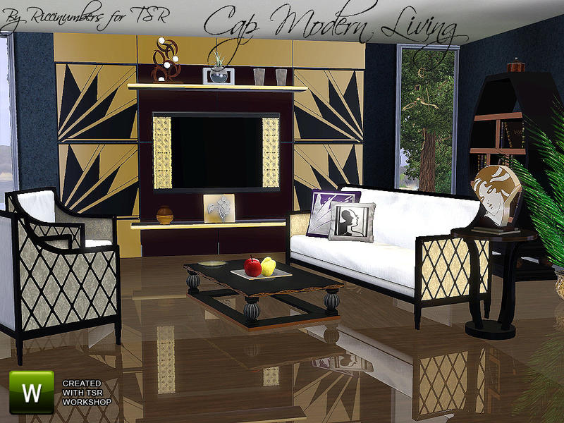 Thenumberswoman 39 s cap modern living for Living room designs sims 4