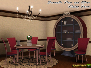 Sims 3 — Romantic Plum and Silver Dining  Room by Canelline — This room is a warm place, with a romantic touch, to share