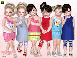 Sims 3 — Finally Summer - Toddler Set by lillka — This set includes: Dress with cute ruffles and Sleeveless dress
