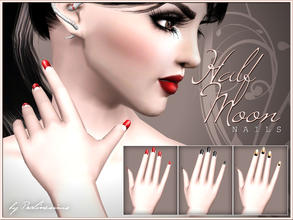 Sims 3 — Half Moon Nails by Pralinesims — New beautiful, realistic nails with retro-like design. In CAS it looks a little