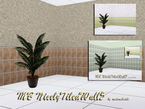 Sims 3 — MB-NicelyTiledWall5 by matomibotaki — MB-NicelyTiledWall5, 2 walls with partly tiled and rough plastered