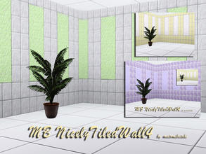 Sims 3 — MB-NicelyTiledWall4 by matomibotaki — MB-NicelyTiledWall4, 2 walls with partly tiled and rough plastered pattern