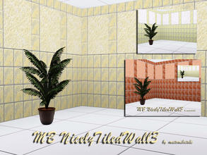 Sims 3 — MB-NicelyTiledWall3 by matomibotaki — MB-NicelyTiledWall3, 2 walls with partly tiled and rough plastered pattern