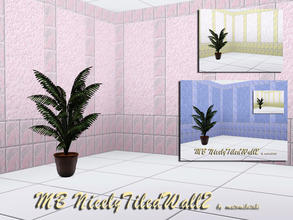 Sims 3 — MB-NicelyTiledWall2 by matomibotaki — MB-NicelyTiledWall2, 2 new tile walls, partly tiled and rough plastered, 3