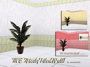 Sims 3 — MB-NicelyTiledWall1 by matomibotaki — MB-NicelyTiledWall1, 2 new tile walls, partly tiled and rough plastered, 3