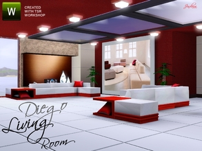 Sims 3 — Diego Living by Jindann — Modular seat with modern atmosphere for modern builder. This set has 8 items. They are
