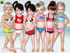 Sims 3 — Let's Dabble - Bikini Set by lillka — This set includes: Panda Bikini/Summer Fun Bikini for toddler girls.