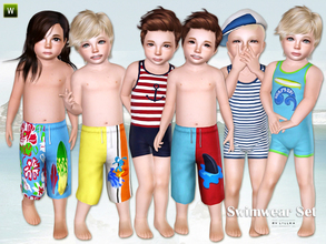 Sims 3 — Fun at the beach - Swimwear Set by lillka — This set includes: One-Piece Swimsuit/Board Shorts for toddler boys.