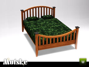 Sims 3 — Hunt Bedroom Doublebed by Mutske — Part of the Hunt Bedroom. 4 recolorable parts. Stress Relief 3, Environment