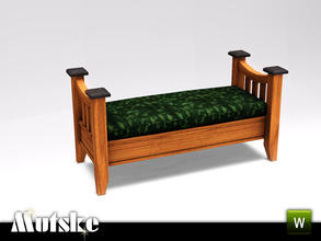Sims 3 — Hunt Double Bench by Mutske — Part of the Hunt Bedroom. 4 Recolorable parts. Environment 4, Comfort 3. Made by