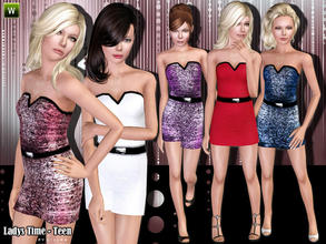 Sims 3 — (Teen) Ladys Time  by lillka — Party dress for teen girls. Everyday/Formal 5 styles/with pattern not recolorable