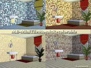 Sims 3 — MB-MiniTileMosaicRecolorable by matomibotaki — MB-MiniTileMosaicRecolorable, 2 mini tile walls, now with rougher