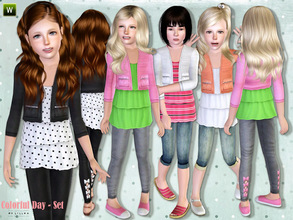 Sims 3 — Colorful Day - Set by lillka — This set includes: Ruffle Top, Capri Denim Pants and Leggings. I hope you like it