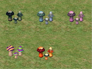 Sims 2 — Funky \'Shrooms Recolors by zaligelover2 — Recolors of a decorative mushroom statue.