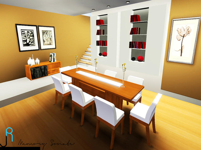 Memory sonate 39 s wooden dining room for Sims 4 dining room ideas