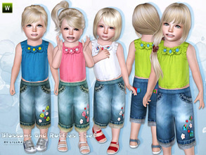 Sims 3 — Blossoms and Ruffles - Set by lillka — This set includes: Cute ruffle top and denim jeans with ruffle pockets. I