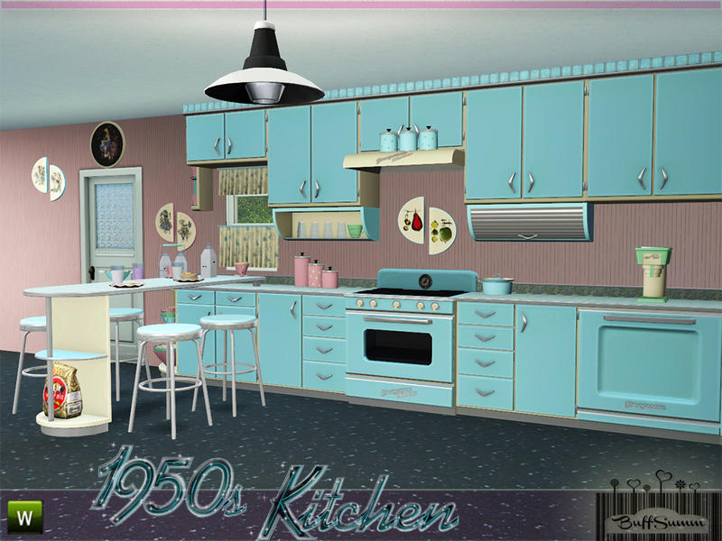 Buffsumm 39 s 1950s kitchen part 1 Sims 3 home decor photography