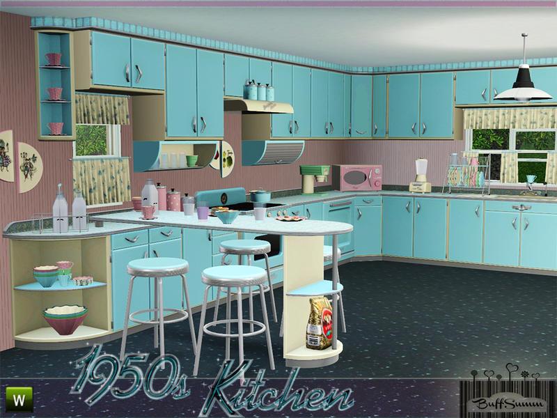 Buffsumm 39 s 1950s kitchen part 1 for Sims interior designs 1
