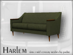 Sims 2 — Harlem Mid Century - 2 Seater Sofa by Padre — A large set of meshes inspired by the mid century era. This item