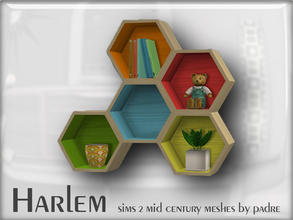 Sims 2 — Harlem Mid Century - Hexagonal Shelving by Padre — A large set of meshes inspired by the mid century era.