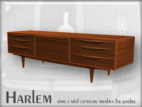 Sims 2 — Harlem Mid Century - G-Plan Sideboard Unit by Padre — A large set of meshes inspired by the mid century era.