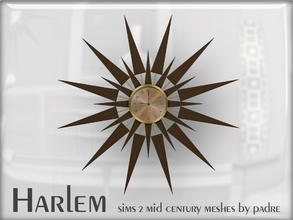 Sims 2 — Harlem Mid Century - Starburst Wall Clock by Padre — A large set of meshes inspired by the mid century era.