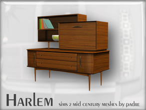 Sims 2 — Harlem Mid Century - Sideboard Wall Unit by Padre — A large set of meshes inspired by the mid century era.