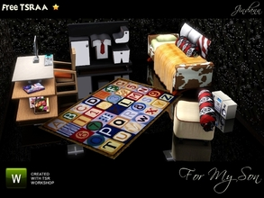 Sims 3 — For my Son by Jindann — More stuffies for your boy sims. Modern, cozy, warm, and cool. Bedroom and study actualy