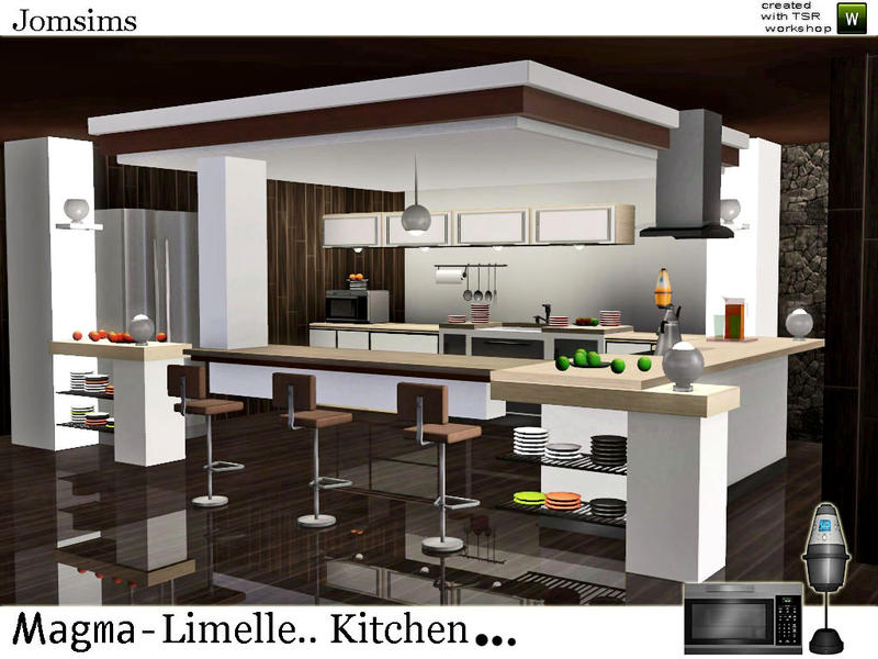 Jomsims 39 magma limelle kitchen for Modern kitchen sims 3
