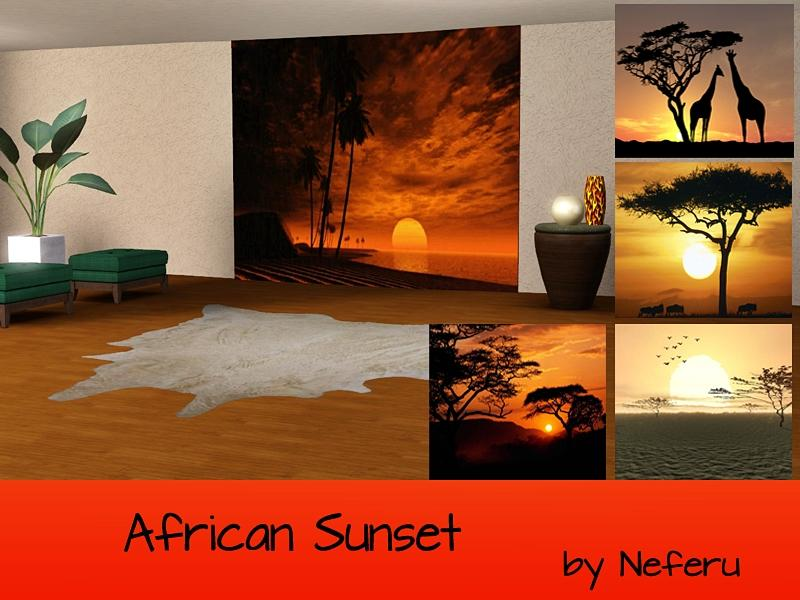 Neferu 39 s african sunset wall mural for African sunset wall mural