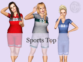 Sims 3 — Ladies Sports Shirt by pizazz — Women cotton sports jersey shirt. Root for your home team by creating their