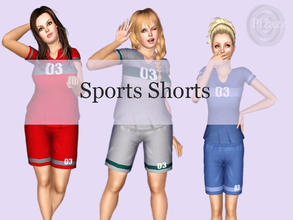 Sims 3 — Ladies Sports Shorts by pizazz — Womens cotton sports jersey shorts. Root for your home team by creating their