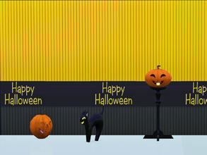 Sims 3 — Happy Halloween Wall by Wimmie — This download contains 2 walls with Happy Halloween motif in one file. These