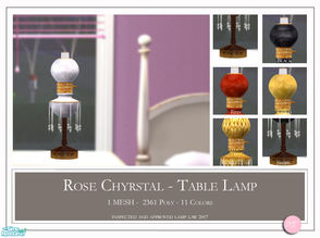 Sims 2 — Rose Chyrstal Table Lamp by DOT — Rose Chyrstal Table Lamp. 1 Mesh Plus Recolors. Sims 2 by DOT of The Sims
