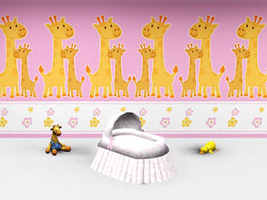 Sims 3 — Wall Nursery Giraffe by Wimmie — 2 walls with giraffes, clouds and flower motifs. These walls are perfect for a