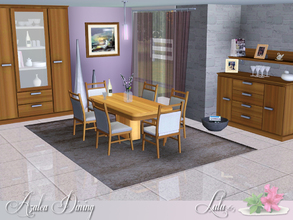Sims 3 — Azalea Dining by Lulu265 — Classic, yet clean, a simple wood finish make this dining area a stylish addition to