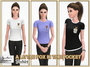 Sims 3 — T-shirt A little fox in the pocket by Ani's Creations by AniFlowersCreations — A confortable basic style t-shirt