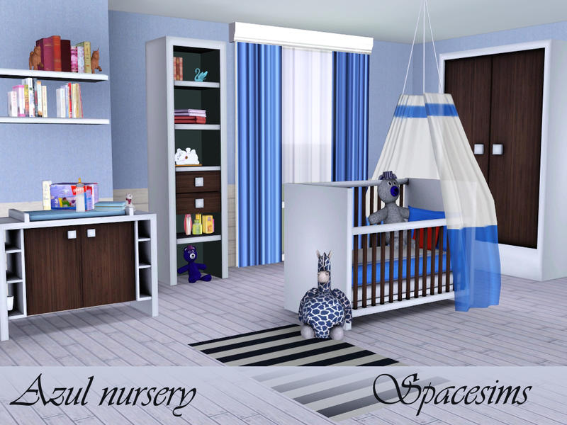 Spacesims 39 azul nursery for Kinderzimmer set baby